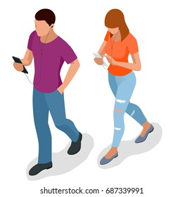 Isometric young people, teenagers and students with phone Young man phoning smart phone with messenger app. Flat illustration of people using gadgets walking
