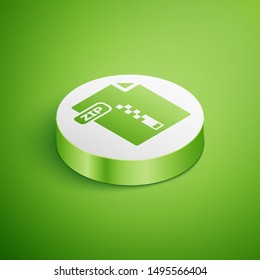 Isometric ZIP file document. Download zip button icon isolated on green background. ZIP file symbol. White circle button. Vector Illustration