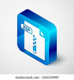 Isometric ZIP file document. Download zip button icon isolated on white background. ZIP file symbol. Blue square button. Vector Illustration