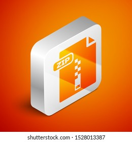 Isometric ZIP file document. Download zip button icon isolated on orange background. ZIP file symbol. Silver square button. Vector Illustration