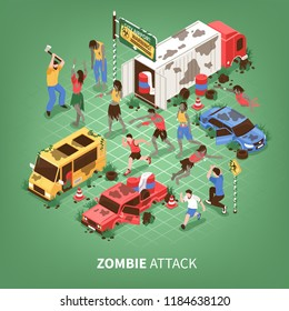 Isometric zombie apocalypse composition with text and images of strange zombies attacking people and broken cars vector illustration