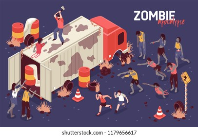 Isometric zombie apocalypse horizontal background composition with human character on truck fighting army of scary zombies vector illustration