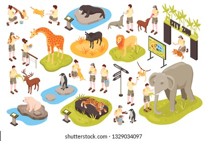 Isometric zoo set with isolated images of animals human characters of personnel and animal park items cector illustration