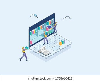 Isometric-e library-eBook-online education-men-at-work-e Learning-Flat Illustration- new age digital education-Data Science. eps10