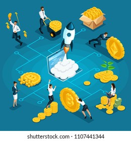 Isometrics businessman, investor, financial market player, with ico blockchain concept, bitcoin, cryptocurrency infographic on the topic Ethereum, Bitcoin