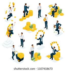 Isometrics businessmen, investors, speculators, financial market players, bankers, financial investments in Ethereum Crypto Currency, ICO, Bitcoin