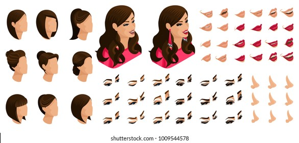 Isometrics create your emotions of a beautiful woman. Sets of 3D hairstyles, faces, eyes, lips, nose, facial expression. Qualitative isometry