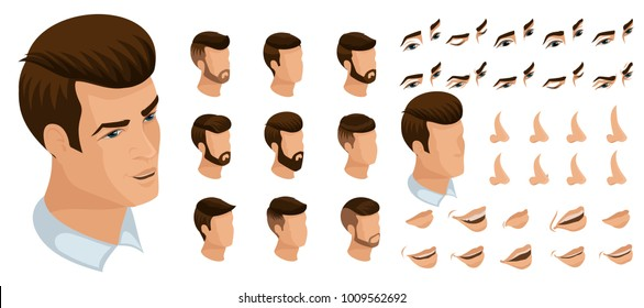 Isometrics create your emotions to a brutal man, sexy handsome. Sets of 3D hairstyles, faces, eyes, lips, nose, facial expression.