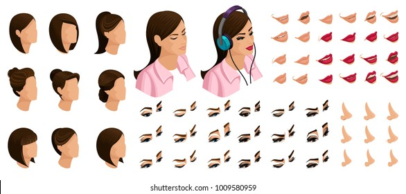 Isometrics create your emotions for a girl teenager. Sets of 3D hairstyles, faces, eyes, lips, nose, facial expression. Qualitative vector isometry