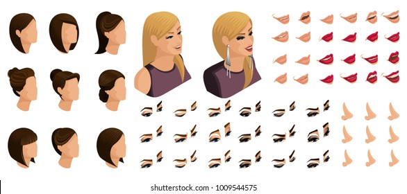 Isometrics create your emotions and hairstyles for the girl. Sets of 3D hairstyles, faces, eyes, lips, nose, facial expression. Qualitative vector isometry