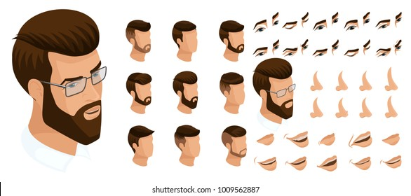 Isometrics create your emotions for a man with a hipster and a beard. Sets of 3D hairstyles, faces, eyes, lips, nose, facial expression. Qualitative vector isometry.