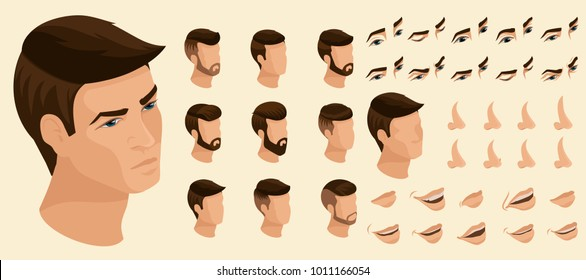 Isometrics create your emotions for a man. Sets of 3D hairstyles, faces, eyes, lips, nose, facial expression. Qualitative vector isometry