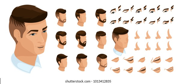 Isometrics create your emotions for a man a businessman. Sets of 3D hairstyles, faces, eyes, lips, nose, facial expression. Qualitative vector isometry.