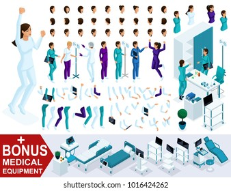 Isometrics create your nurse character, Set of hands, feet, gestures, emotions and characters with different poses. Bonus medical equipment