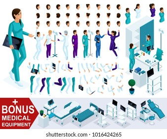Isometrics create your nurse character, Set of hands, feet, gestures, emotions and characters. Bonus medical equipment