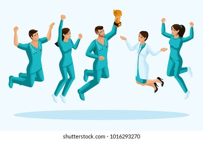 Isometrics doctors jump, happiness. Surgeons, paramedics, nurses jump in turquoise medical clothes, joy. Set for illustrations