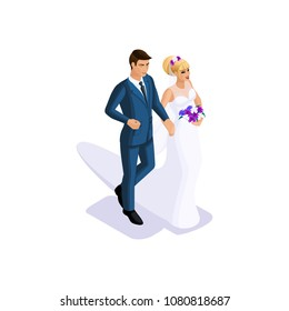 Isometrics of the groom and the bride are going to get married on the arm, the bride in a beautiful dress with a bouquet of flowers, the groom in a suit
