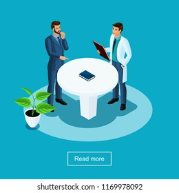 Isometrics health care and innovative technologies, hospital, medical personnel, the patient communicates with the doctor, a preliminary interview surveys.