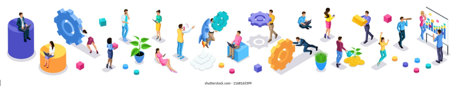 Isometrics large set of vibrant business people with icons, young entrepreneurs, quality vector people on isolated background. Vector illustration