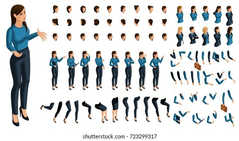 Isometrics people emotions face, create your character. 3D business lady with a set of emotions and gestures of hands. Creative large set for vector illustrations.