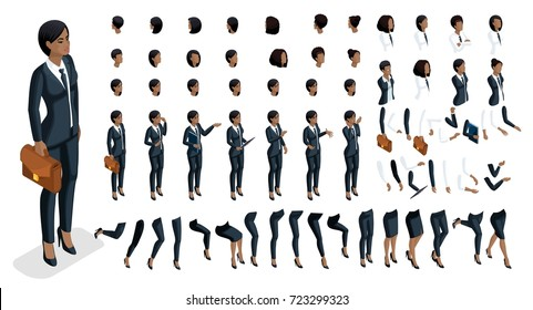 Isometrics people emotions face, create your character. 3d business of an African American woman with a set of emotions and gestures of hands. Large set for vector illustrations