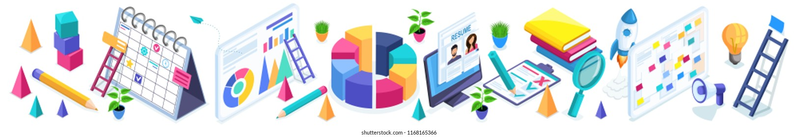 Isometrics set of business icons, diagram, graphs, data, indicators, summary, ladder, computer, calendar on isolated background. Vector illustration