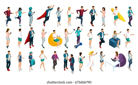 Isometrics set of vector characters in different poses, 3d teenagers, men and girls, doing different actions. Set of people for Vector illustrations.