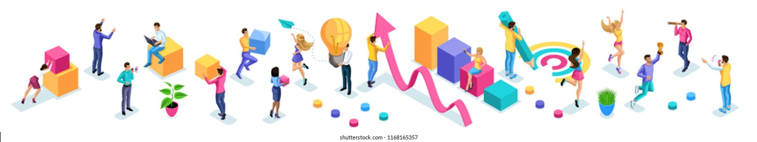 Isometrics set of vibrant business people, young entrepreneurs, quality vector people on a isolated background. Vector illustration