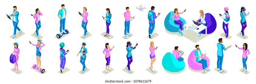 Isometrics of teenagers people, bright design phone, a large set of girls of generation Z, play, make selfies, to take to oneself, social networks, gadgets.