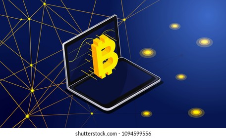 Isometry bitcoin flies on the monitor screen from the laptop. Extraction of the bitcone block, blockchain, vector background abstract illustration