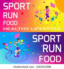Isometry bright colorful banners on the theme of sport, healthy eating, healthy lifestyle. Running, sport, body beauty and sports figure