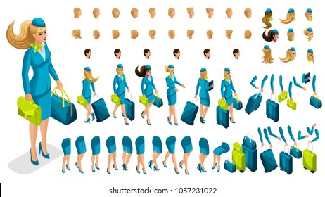 Isometry constructor stewardess, a large set of gestures of the legs, hands, hairstyles, emotions of the girl. Create your character in isometric, a set of accessories and suitcases.
