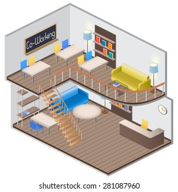 Isometry creative work space. Coworking. Vector Illustration.