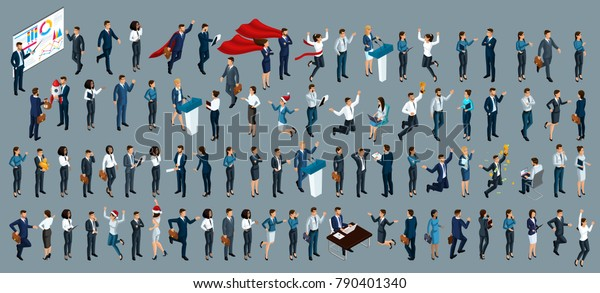 Isometry is a large set of businessmen and business ladies. 3d lawyers, economists, presidents, bank employees and entrepreneurs with different gestures and emotions