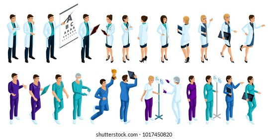 Isometry is a large set of characters of medical workers, 3D doctors, surgeons, nurse, male nurse, different movements and emotions for illustrations