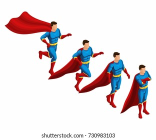 Isometry is a set of 4 movements of superheroes, 3D set of movements of supermen in a suit with a raincoat. Runs, hurries, waits.
