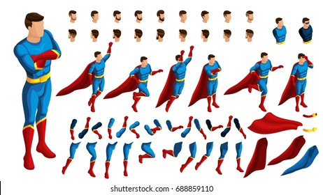 Isometry is a set of gestures for the movement of super heroes. 3D Set of gestures in a jump, in a pallet, runs, looks, guards. Create your own superhero in isometry.