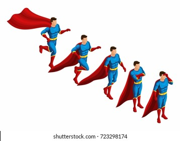 Isometry is a set of superheroes, 3D set of movements of supermen in a suit Runs, hurries, goes looking for.