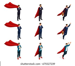 Isometry is a set of vector supermen of super heroes, 3d businessmen are teenagers, young entrepreneurs. Vector illustration