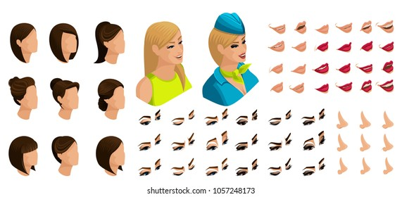 Isometry of the stewardess girl with a set of emotions for the creation of her character. A large set of lips, hair, eyes, nose. Beauty Facial Designer set 5