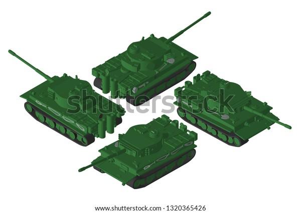 Isometry Vector Heavy German Tank Second Stock Vector (Royalty Free