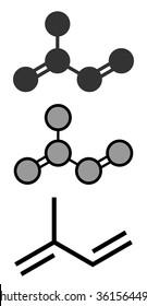 Isoprene, rubber (polyisoprene) building block (monomer). Stylized 2D renderings and conventional skeletal formula.