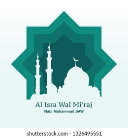 Isra mi'raj Greeting Desig...Mosque and Paper style