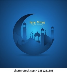 Isra' mi'raj illustration about mohammad prohet in night journey