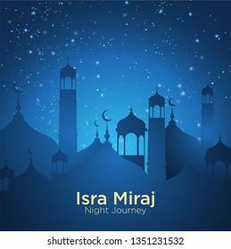 Isra' mi'raj illustration about mohammad prohet in night journey