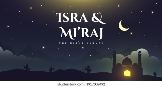Isra and Mi'raj The Night of Journey  Illustration Template Design