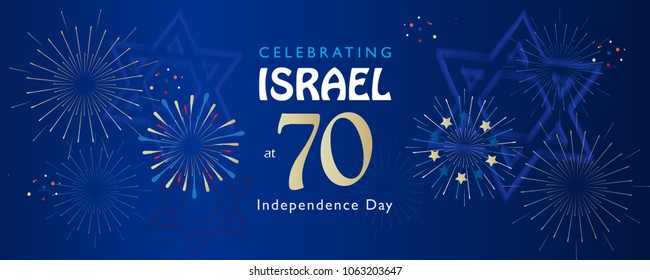 Israel 70 anniversary, Independence Day, festive greeting poster, Jewish Holiday, Jerusalem banner with Israeli blue star, fireworks, vector modern concept design wallpaper. Banner 1948-2018 celebrate