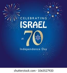 Israel 70 anniversary, Independence Day, Jewish holiday festive greeting poster, Jerusalem banner with Israeli blue star, fireworks, vector modern design wallpaper. 2018 celebrate