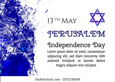 Israel 70 anniversary, Jerusalem Independence Day, festive greeting poster, Jewish Holiday, Jerusalem banner Israeli blue star, vector modern concept. Design template poster, banner, flayer, greeting