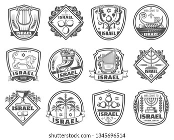 Israel culture symbols, religion and tradition monochrome icons. Vector harp and pomegranate, cornucopia and boat with oars. Lion and David star, candlestick and goblet, palm trees, judaic grail